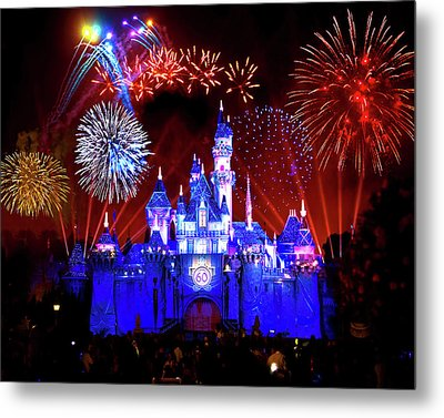 Disneyland 60th Anniversary Fireworks Metal Print by Mark Andrew Thomas