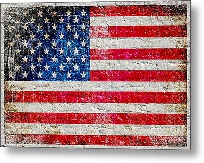 Distressed American Flag On Old Brick Wall - Horizontal Metal Print