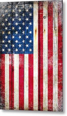 Distressed American Flag On Wood - Vertical Metal Print