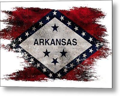 Distressed Arkansas Flag Metal Print