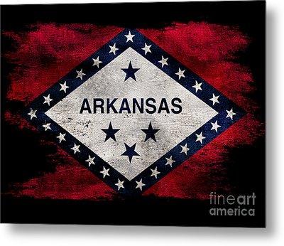 Distressed Arkansas Flag On Black Metal Print