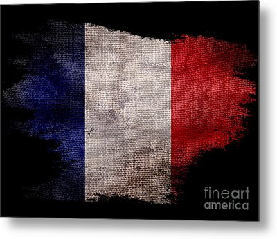Distressed French Flag On Black Metal Print