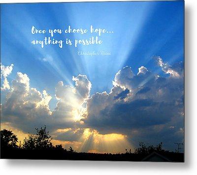 Divine Light Bursting Through Clouds Hope Metal Print by Elaine Plesser