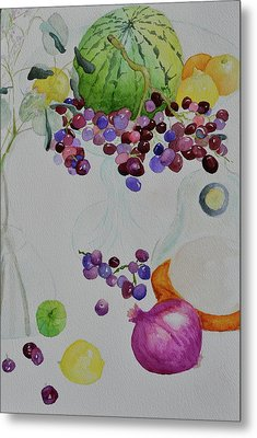 Metal Print featuring the painting Django's Grapes by Beverley Harper Tinsley