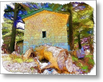 Metal Print featuring the photograph Do-00435 Building Surrounded By Cedars by Digital Oil
