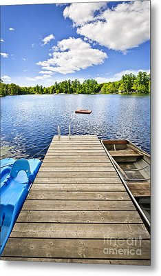 Dock On Lake In Summer Cottage Country Metal Print by Elena Elisseeva