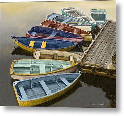 Dock With Colorful Boats Metal Print by Dennis Orlando