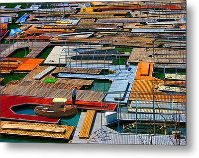 Docks In A Row Metal Print