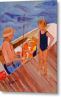 Dockside Negotiation On Who Is Fishing Metal Print