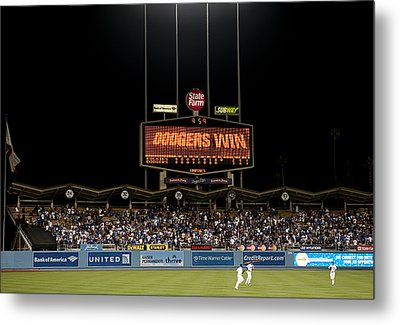 Dodgers Win Metal Print by Malania Hammer