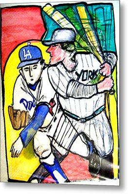 Dodgers Yankees Metal Print by James Christiansen