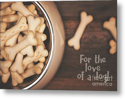 Dog Biscuits In A Bowl, Top View. Metal Print by Jane Rix
