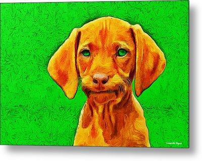 Dog Friend Green - Da Metal Print by Leonardo Digenio