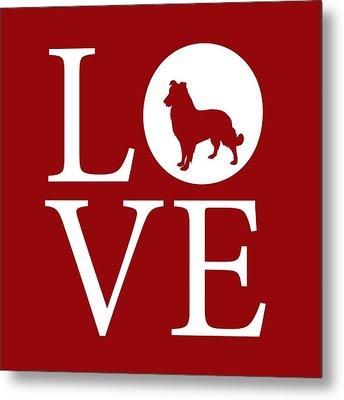 Dog Love Red Metal Print by Nancy Ingersoll