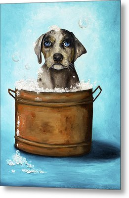 Dog N Suds Metal Print by Leah Saulnier The Painting Maniac