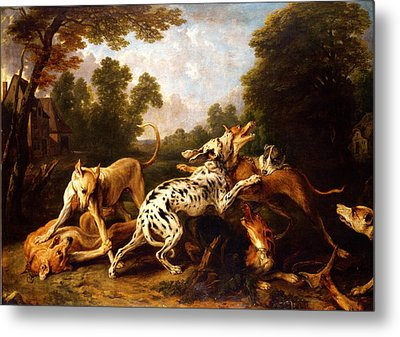 Dogs Fighting Metal Print by Pg Reproductions