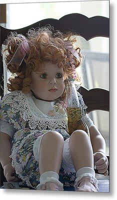 Doll Sitting In Chair With Bottle Of Beer Metal Print by Christopher Purcell