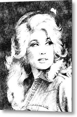 Dolly Parton Bw Portrait Metal Print by Mihaela Pater