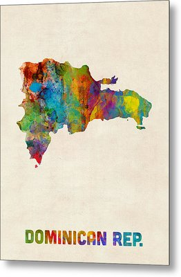 Dominican Republic Watercolor Map Metal Print