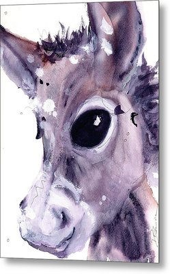 Metal Print featuring the painting Donkey by Dawn Derman