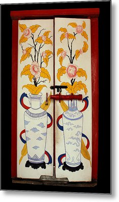 Door With Two Vases Metal Print by Ty Lee