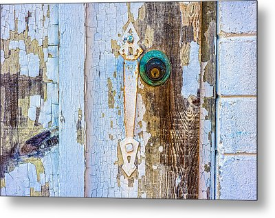 Door With Weathered Paint Metal Print