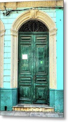 Doors Of Cuba Green Door Metal Print