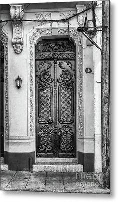 Doors Of Cuba Yellow Door Bw Metal Print
