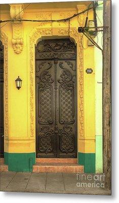 Doors Of Cuba Yellow Door Metal Print