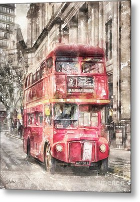Double-decker Red Bus Of London Metal Print by Shirley Stalter