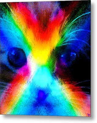 Metal Print featuring the painting Double Rainbow Cat by David Lee Thompson