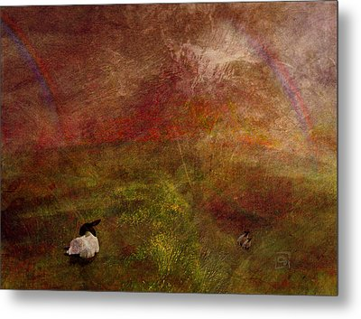 Metal Print featuring the digital art Double Rainbow by Jean Moore