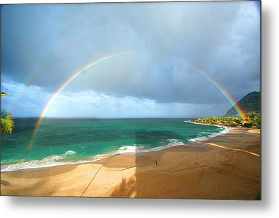 Double Rainbow Over Turtle Beach Metal Print