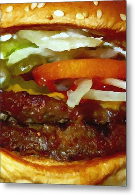Double Whopper With Cheese And The Works - Painterly Metal Print by Wingsdomain Art and Photography