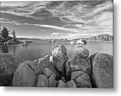 Dowdy Lake In Black And White Metal Print by James Steele