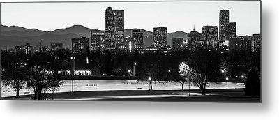 Downtown Denver Skyline Panorama Black And White - Colorado - Usa Metal Print by Gregory Ballos