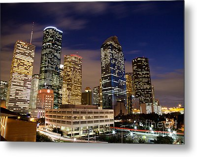 Downtown Houston At Night Metal Print by Olivier Steiner