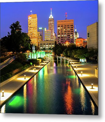 Downtown Indy Skyline - Indianapolis Indiana 1x1 Metal Print