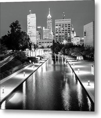Downtown Indy Skyline - Indianapolis Indiana Black-white 1x1 Metal Print
