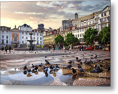Downtown Lisbon Metal Print by Carlos Caetano