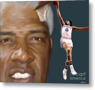 Dr J Now And Then Metal Print