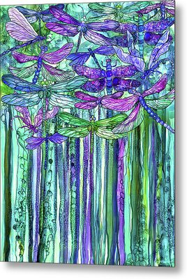 Metal Print featuring the mixed media Dragonfly Bloomies 1 - Purple by Carol Cavalaris