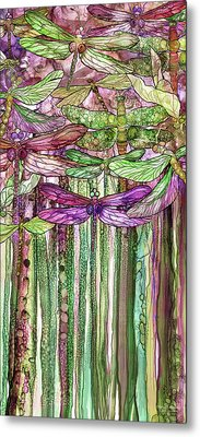 Metal Print featuring the mixed media Dragonfly Bloomies 2 - Pink by Carol Cavalaris