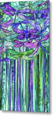 Metal Print featuring the mixed media Dragonfly Bloomies 2 - Purple by Carol Cavalaris