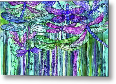 Metal Print featuring the mixed media Dragonfly Bloomies 3 - Purple by Carol Cavalaris