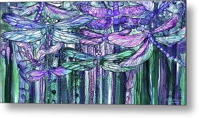 Dragonfly Bloomies 4 - Lavender Teal Metal Print