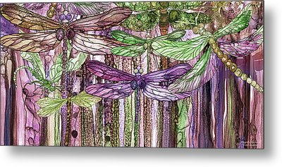 Metal Print featuring the mixed media Dragonfly Bloomies 4 - Pink by Carol Cavalaris