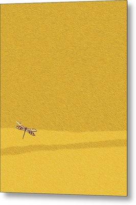 Dragonfly On Yellow Fur 2 Metal Print
