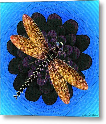 Metal Print featuring the digital art Dragonfly Snookum by Iowan Stone-Flowers