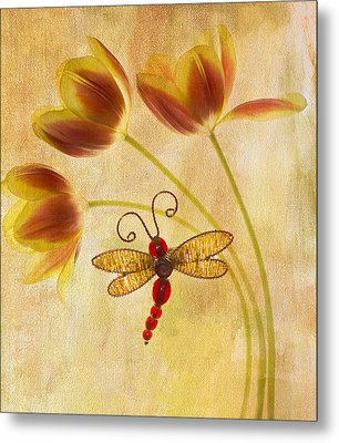 Dragonfly Tulips Metal Print by Rebecca Cozart